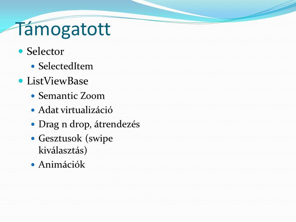 Támogatott  Selector  SelectedItem  ListViewBase  Semantic Zoom  Adat virtualizáció  Drag n drop, átrendezés  Gesztusok (swipe kiválasztás)  Animációk
