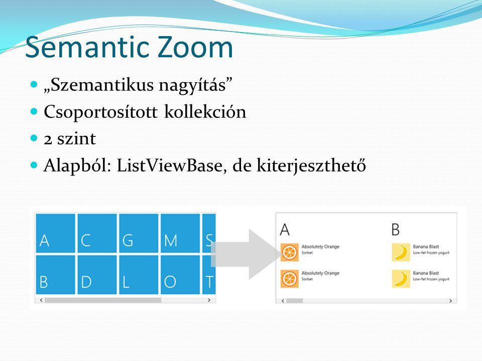 """Semantic Zoom  """"Szemantikus nagyítás""""  Csoportosított kollekción  2 szint  Alapból: ListViewBase, de kiterjeszthető"""