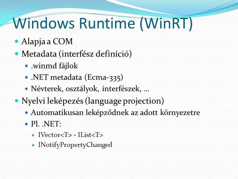 Windows Runtime (WinRT) Windows Runtime objektum Implementáció: C++, C#, VB Windows Runtime objektum Implementáció: C++, C#, VB Windows Metadata C++ App Leképezés CLR C#/VB App Leképezés HTML/JS App Chakra Leképezés