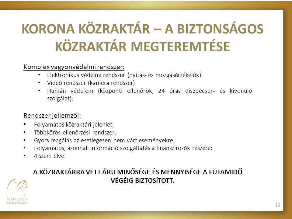 KORONA KÖZRAKTÁR – A BIZTONSÁGOS KÖZRAKTÁR MEGTEREMTÉSE Komplex vagyonvédelmi rendszer: • Elektronikus védelmi rendszer (nyitás- és mozgásérzékelők) •