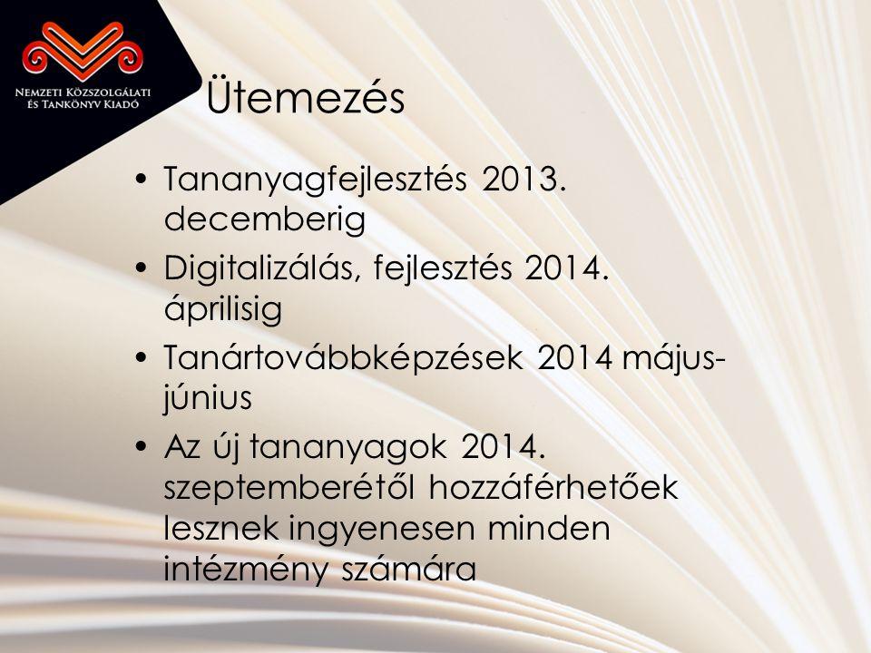 Ütemezés •Tananyagfejlesztés 2013. decemberig •Digitalizálás, fejlesztés 2014.
