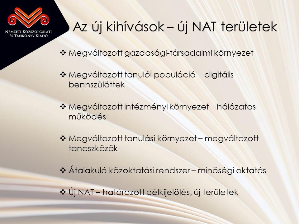 Az új kihívások – új NAT területek  Megváltozott gazdasági-társadalmi környezet  Megváltozott tanulói populáció – digitális bennszülöttek  Megváltozott intézményi környezet – hálózatos működés  Megváltozott tanulási környezet – megváltozott taneszközök  Átalakuló közoktatási rendszer – minőségi oktatás  Új NAT – határozott célkijelölés, új területek