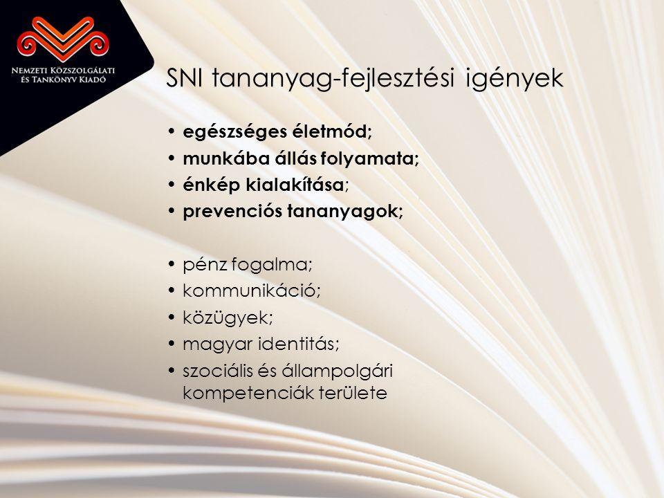 SNI tananyag-fejlesztési igények • egészséges életmód; • munkába állás folyamata; • énkép kialakítása ; • prevenciós tananyagok; •pénz fogalma; •kommunikáció; •közügyek; •magyar identitás; •szociális és állampolgári kompetenciák területe