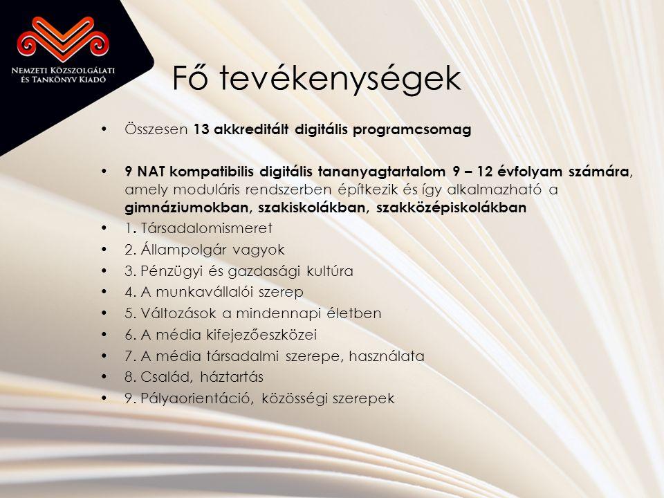 Fő tevékenységek •Összesen 13 akkreditált digitális programcsomag • 9 NAT kompatibilis digitális tananyagtartalom 9 – 12 évfolyam számára, amely moduláris rendszerben építkezik és így alkalmazható a gimnáziumokban, szakiskolákban, szakközépiskolákban •1.
