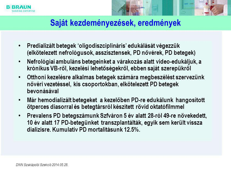 Saját kezdeményezések, eredmények • Predializált betegek 'oligodiszciplináris' edukálását végezzük (elkötelezett nefrológusok, asszisztensek, PD nővérek, PD betegek) • Nefrológiai ambuláns betegeinket a várakozás alatt video-edukáljuk, a krónikus VB-ről, kezelési lehetőségekről, ebben saját szerepükről • Otthoni kezelésre alkalmas betegek számára megbeszélést szervezünk nővéri vezetéssel, kis csoportokban, elkötelezett PD betegek bevonásával • Már hemodializált betegeket a kezelőben PD-re edukálunk hangosított ötperces diasorral és betegtársról készített rövid oktatófilmmel • Prevalens PD betegszámunk Szfváron 5 év alatt 28-ról 49-re növekedett, 10 év alatt 17 PD-betegünket transzplantálták, egyik sem került vissza dialízisre.