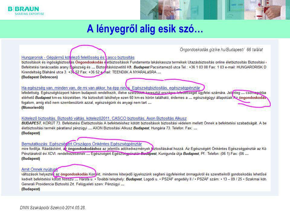A lényegről alig esik szó… Öngondoskodás.gizike.hu/Budapest/ 66 találat DNN Szakápolói Szekció 2014.05.28.