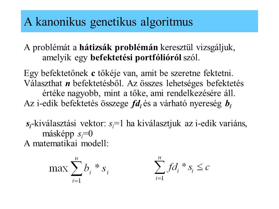 A kanonikus genetikus algoritmus A problémát a hátizsák problémán keresztül vizsgáljuk, amelyik egy befektetési portfólióról szól. Egy befektetőnek c