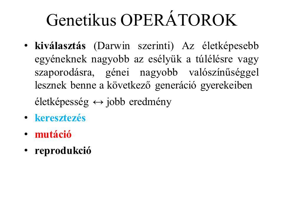 Genetikus OPERÁTOROK • kiválasztás (Darwin szerinti) Az életképesebb egyéneknek nagyobb az esélyük a túlélésre vagy szaporodásra, génei nagyobb valósz