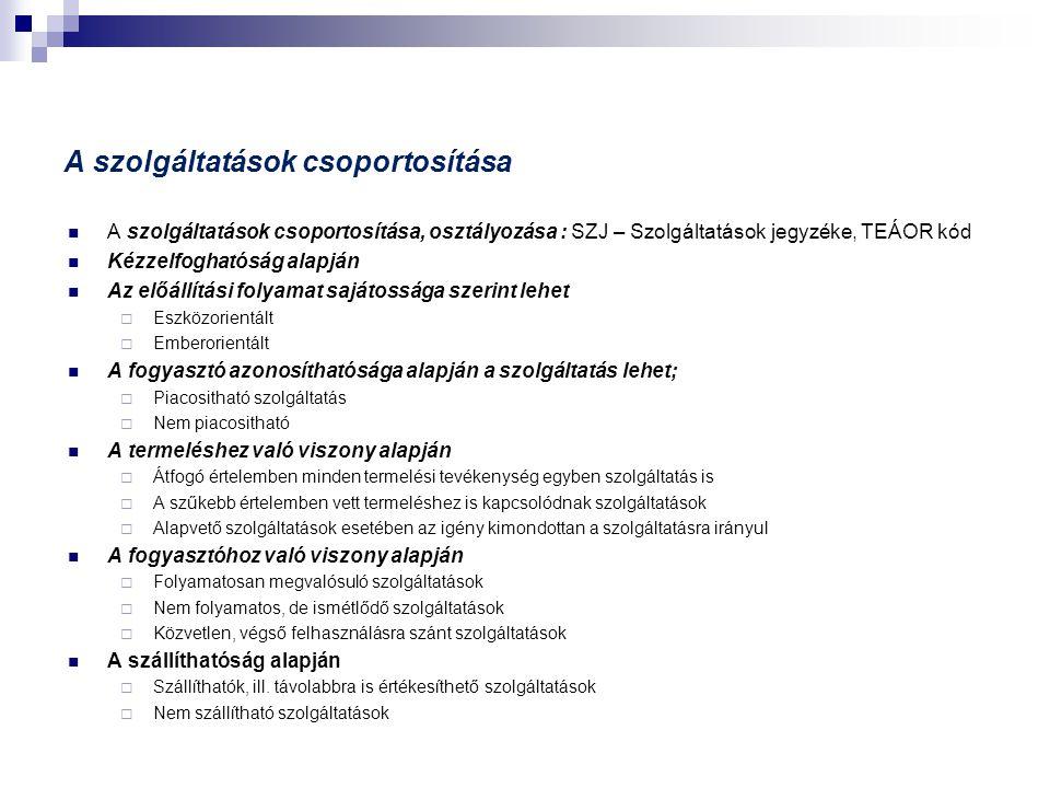 A szolgáltatások csoportosítása  A szolgáltatások csoportosítása, osztályozása : SZJ – Szolgáltatások jegyzéke, TEÁOR kód  Kézzelfoghatóság alapján  Az előállítási folyamat sajátossága szerint lehet  Eszközorientált  Emberorientált  A fogyasztó azonosíthatósága alapján a szolgáltatás lehet;  Piacositható szolgáltatás  Nem piacositható  A termeléshez való viszony alapján  Átfogó értelemben minden termelési tevékenység egyben szolgáltatás is  A szűkebb értelemben vett termeléshez is kapcsolódnak szolgáltatások  Alapvető szolgáltatások esetében az igény kimondottan a szolgáltatásra irányul  A fogyasztóhoz való viszony alapján  Folyamatosan megvalósuló szolgáltatások  Nem folyamatos, de ismétlődő szolgáltatások  Közvetlen, végső felhasználásra szánt szolgáltatások  A szállíthatóság alapján  Szállíthatók, ill.