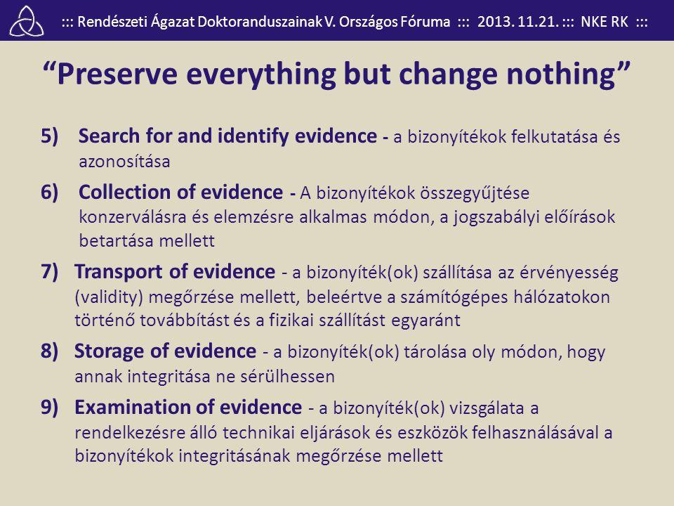 """::: Rendészeti Ágazat Doktoranduszainak V. Országos Fóruma ::: 2013. 11.21. ::: NKE RK ::: """"Preserve everything but change nothing"""" 5)Search for and i"""