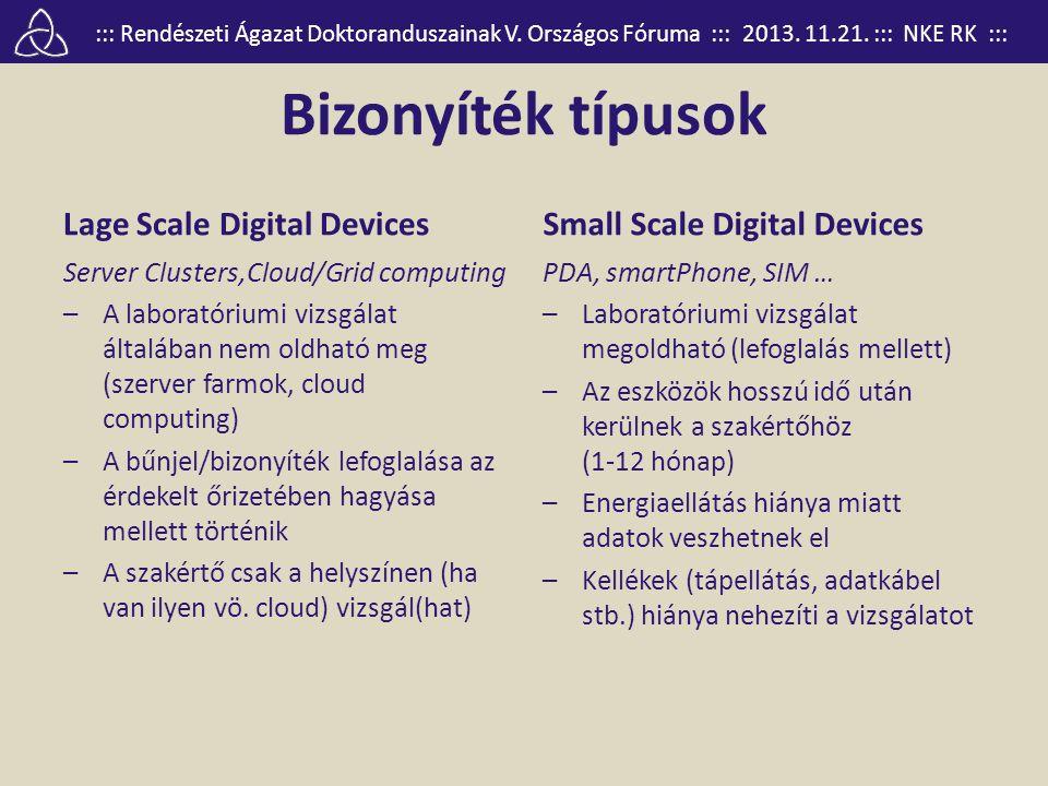 ::: Rendészeti Ágazat Doktoranduszainak V. Országos Fóruma ::: 2013. 11.21. ::: NKE RK ::: Bizonyíték típusok Lage Scale Digital Devices Server Cluste