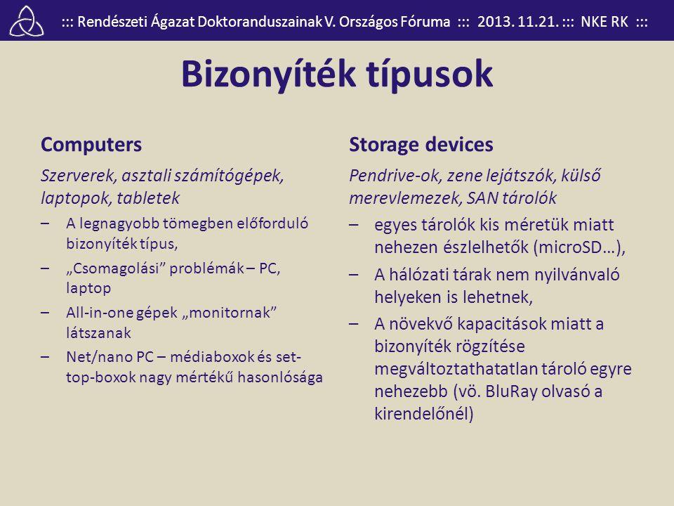 ::: Rendészeti Ágazat Doktoranduszainak V. Országos Fóruma ::: 2013. 11.21. ::: NKE RK ::: Bizonyíték típusok Computers Szerverek, asztali számítógépe