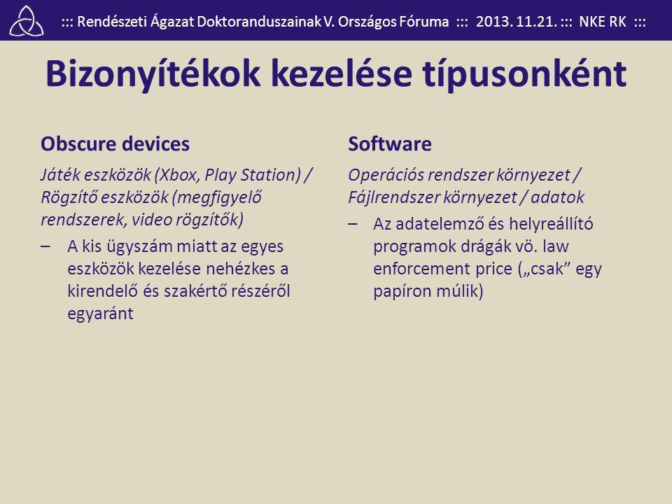 ::: Rendészeti Ágazat Doktoranduszainak V. Országos Fóruma ::: 2013. 11.21. ::: NKE RK ::: Bizonyítékok kezelése típusonként Obscure devices Játék esz
