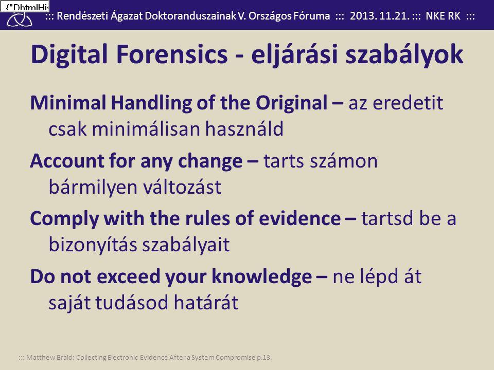 ::: Rendészeti Ágazat Doktoranduszainak V. Országos Fóruma ::: 2013. 11.21. ::: NKE RK ::: Digital Forensics - eljárási szabályok Minimal Handling of