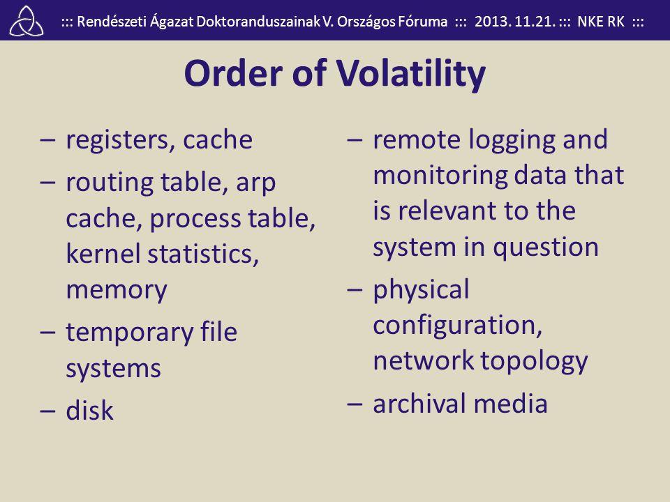 ::: Rendészeti Ágazat Doktoranduszainak V. Országos Fóruma ::: 2013. 11.21. ::: NKE RK ::: Order of Volatility –registers, cache –routing table, arp c