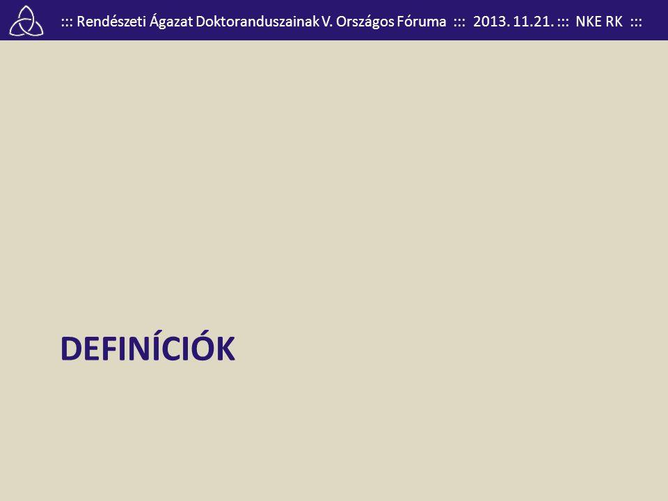 ::: Rendészeti Ágazat Doktoranduszainak V. Országos Fóruma ::: 2013. 11.21. ::: NKE RK ::: DEFINÍCIÓK