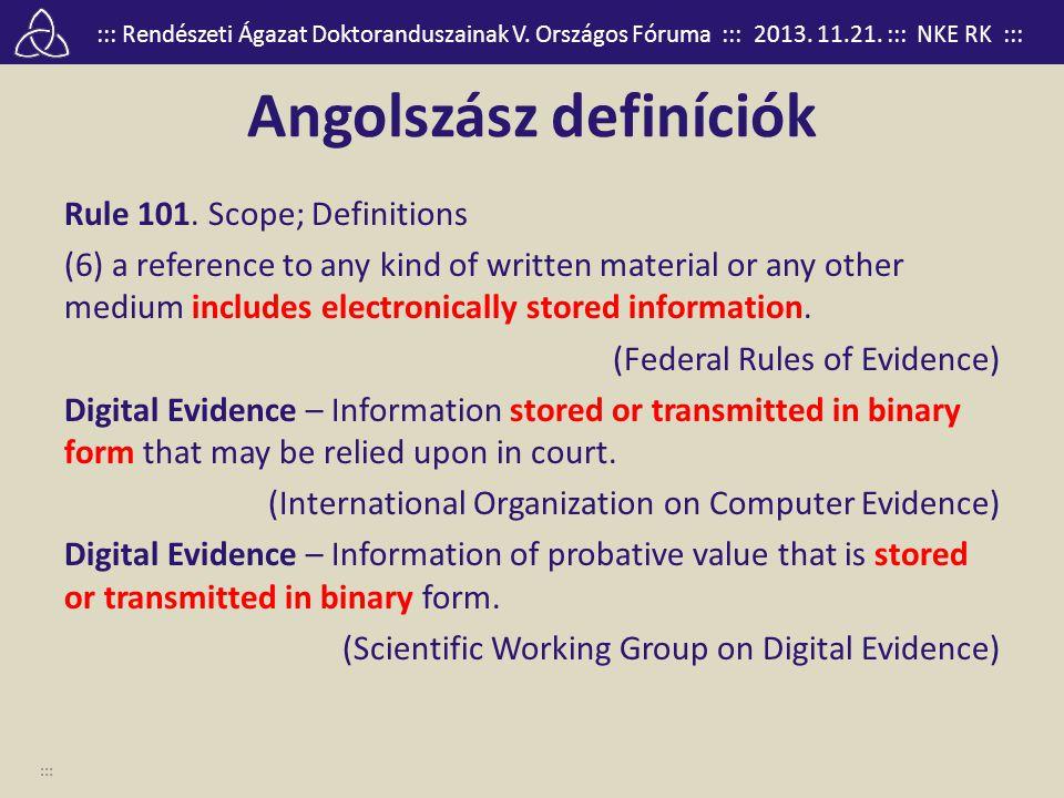::: Rendészeti Ágazat Doktoranduszainak V. Országos Fóruma ::: 2013. 11.21. ::: NKE RK ::: Angolszász definíciók Rule 101. Scope; Definitions (6) a re