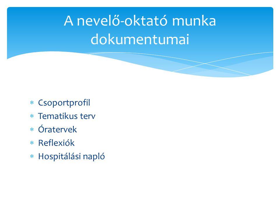  Csoportprofil  Tematikus terv  Óratervek  Reflexiók  Hospitálási napló A nevelő-oktató munka dokumentumai