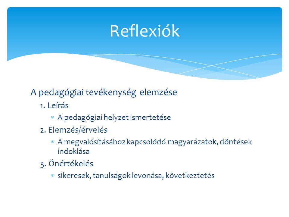 A pedagógiai tevékenység elemzése 1. Leírás  A pedagógiai helyzet ismertetése 2. Elemzés/érvelés  A megvalósításához kapcsolódó magyarázatok, döntés