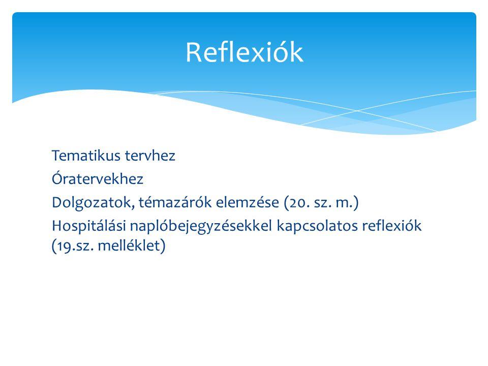 Tematikus tervhez Óratervekhez Dolgozatok, témazárók elemzése (20. sz. m.) Hospitálási naplóbejegyzésekkel kapcsolatos reflexiók (19.sz. melléklet) Re