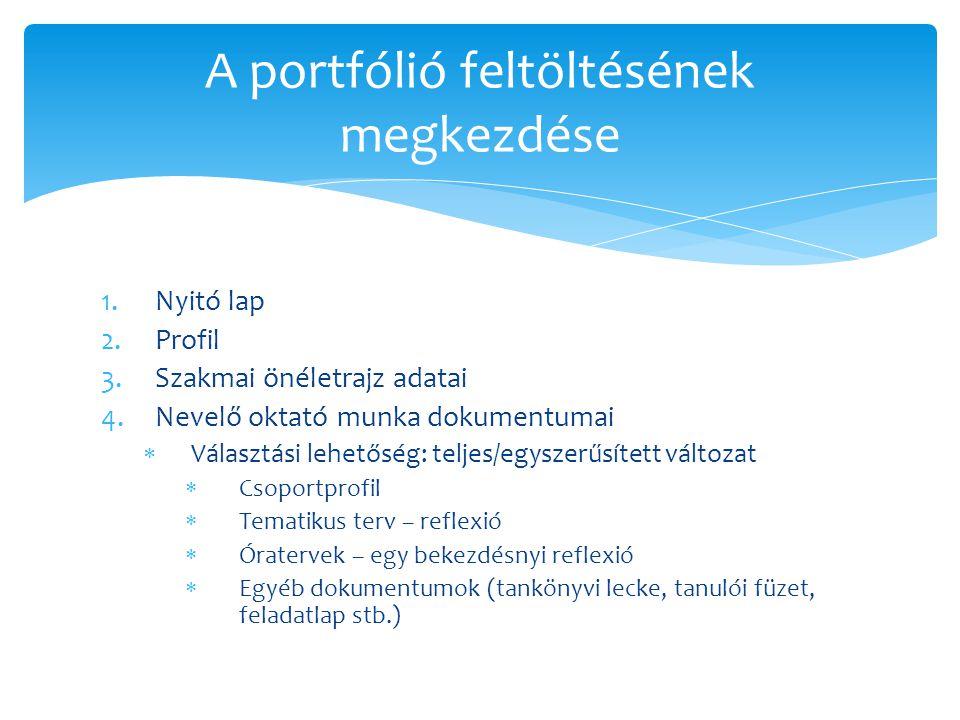 1.Nyitó lap 2.Profil 3.Szakmai önéletrajz adatai 4.Nevelő oktató munka dokumentumai  Választási lehetőség: teljes/egyszerűsített változat  Csoportpr