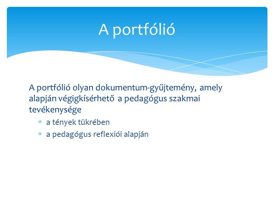 A portfólió olyan dokumentum-gyűjtemény, amely alapján végigkísérhető a pedagógus szakmai tevékenysége  a tények tükrében  a pedagógus reflexiói ala