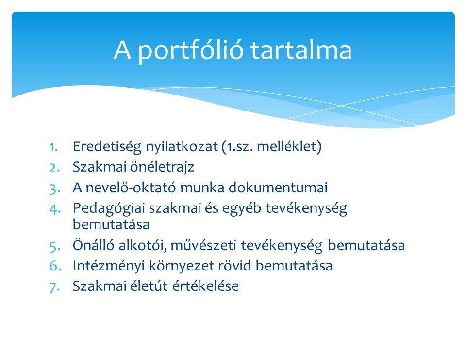 1.Eredetiség nyilatkozat (1.sz. melléklet) 2.Szakmai önéletrajz 3.A nevelő-oktató munka dokumentumai 4.Pedagógiai szakmai és egyéb tevékenység bemutat