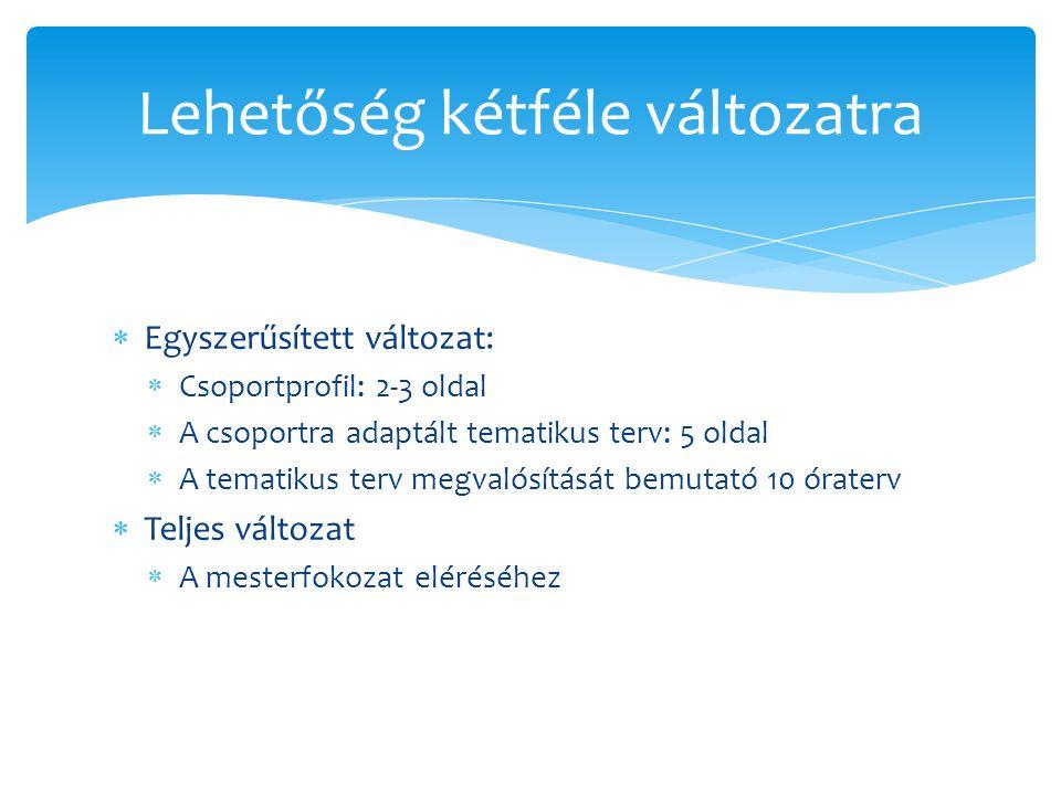  Egyszerűsített változat:  Csoportprofil: 2-3 oldal  A csoportra adaptált tematikus terv: 5 oldal  A tematikus terv megvalósítását bemutató 10 óra