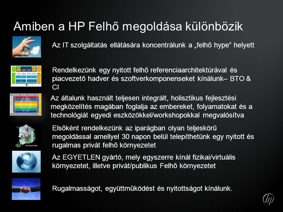 """Amiben a HP Felhő megoldása különbözik Az IT szolgáltatás ellátására koncentrálunk a """"felhő hype helyett Rendelkezünk egy nyitott felhő referenciaarchitektúrával és piacvezető hadver és szoftverkomponenseket kínálunk– BTO & CI Az általunk használt teljesen integrált, holisztikus fejlesztési megközelítés magában foglalja az embereket, folyamatokat és a technológiát egyedi eszközökkel/workshopokkal megvalósítva Az EGYETLEN gyártó, mely egyszerre kínál fizikai/virtuális környezetet, illetve privát/publikus Felhő környezetet Rugalmasságot, együttműködést és nyitottságot kínálunk."""