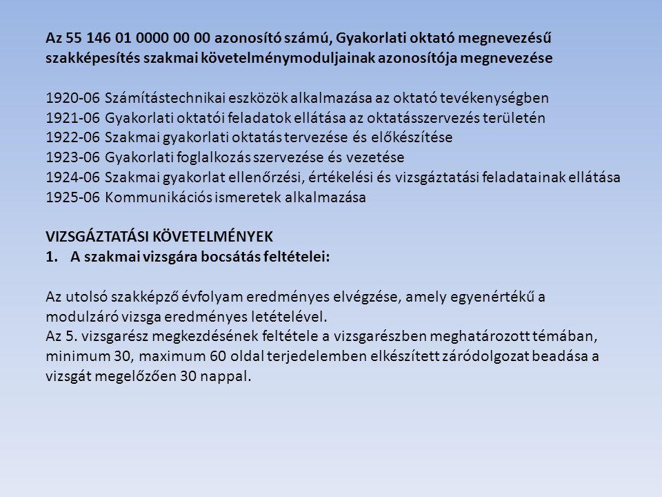 Az 55 146 01 0000 00 00 azonosító számú, Gyakorlati oktató megnevezésű szakképesítés szakmai követelménymoduljainak azonosítója megnevezése 1920-06 Számítástechnikai eszközök alkalmazása az oktató tevékenységben 1921-06 Gyakorlati oktatói feladatok ellátása az oktatásszervezés területén 1922-06 Szakmai gyakorlati oktatás tervezése és előkészítése 1923-06 Gyakorlati foglalkozás szervezése és vezetése 1924-06 Szakmai gyakorlat ellenőrzési, értékelési és vizsgáztatási feladatainak ellátása 1925-06 Kommunikációs ismeretek alkalmazása VIZSGÁZTATÁSI KÖVETELMÉNYEK 1.A szakmai vizsgára bocsátás feltételei: Az utolsó szakképző évfolyam eredményes elvégzése, amely egyenértékű a modulzáró vizsga eredményes letételével.