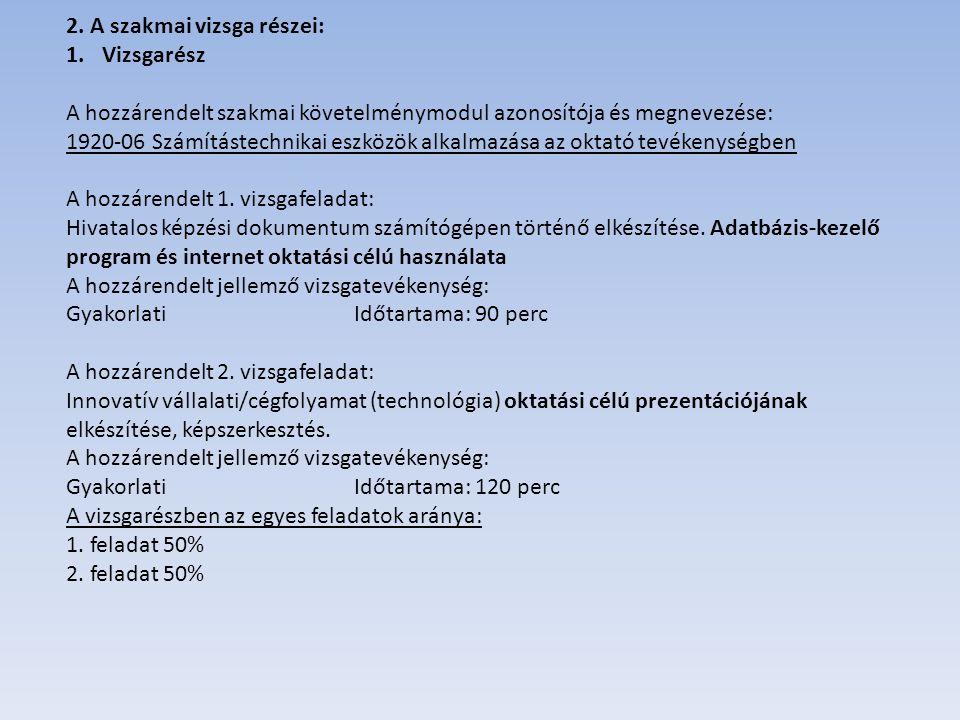 2. A szakmai vizsga részei: 1.Vizsgarész A hozzárendelt szakmai követelménymodul azonosítója és megnevezése: 1920-06 Számítástechnikai eszközök alkalm
