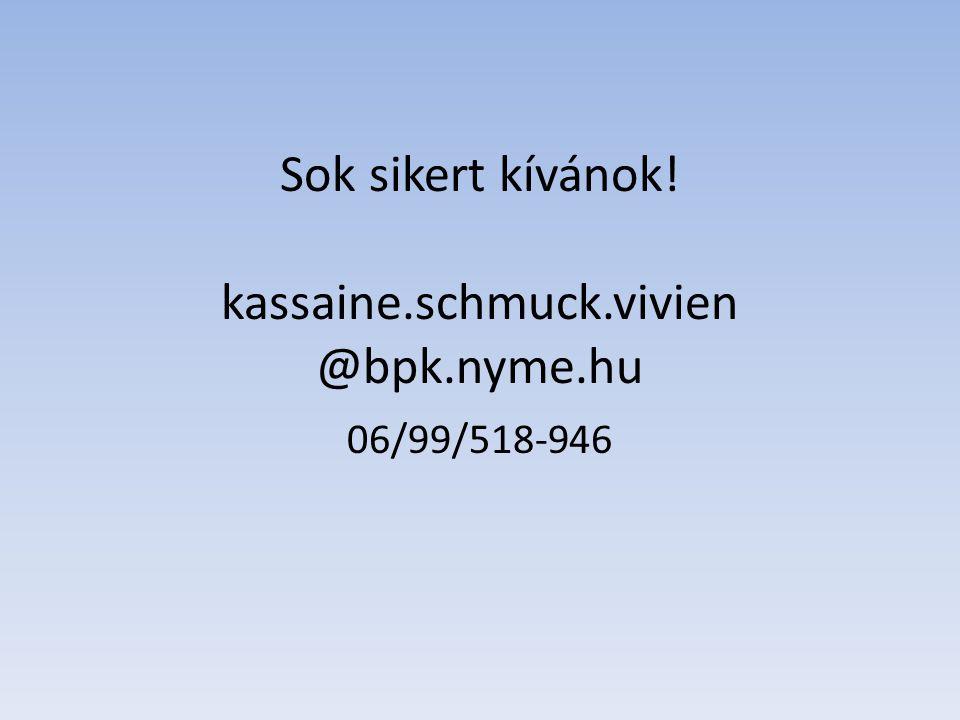 Sok sikert kívánok! kassaine.schmuck.vivien @bpk.nyme.hu 06/99/518-946
