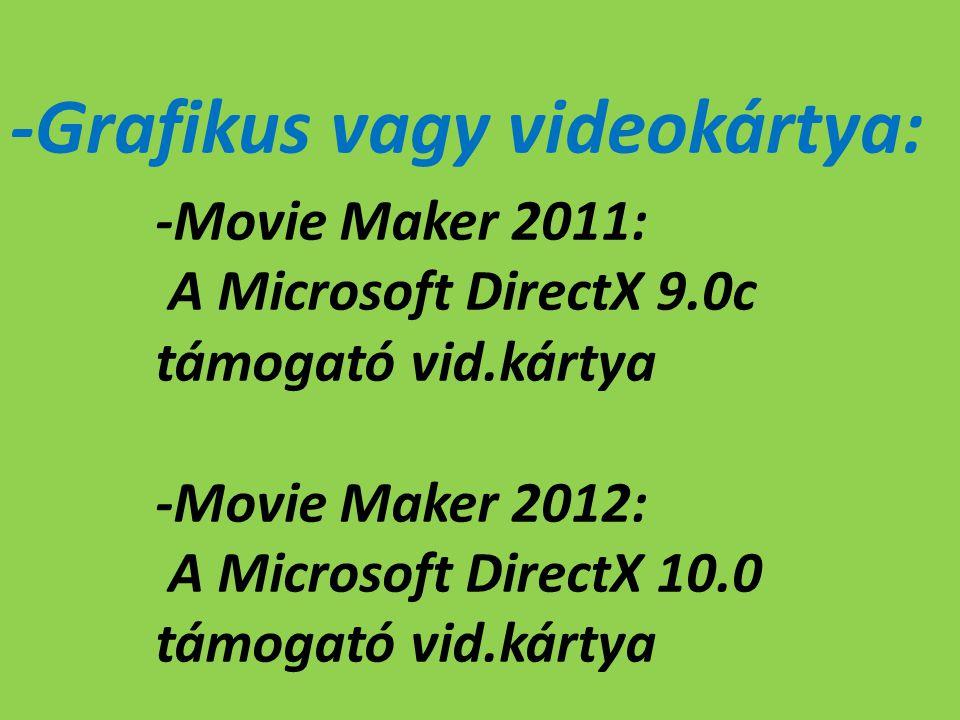 -Grafikus vagy videokártya: -Movie Maker 2011: A Microsoft DirectX 9.0c támogató vid.kártya -Movie Maker 2012: A Microsoft DirectX 10.0 támogató vid.kártya