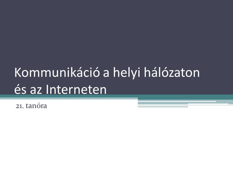 Kommunikáció a helyi hálózaton és az Interneten 21. tanóra