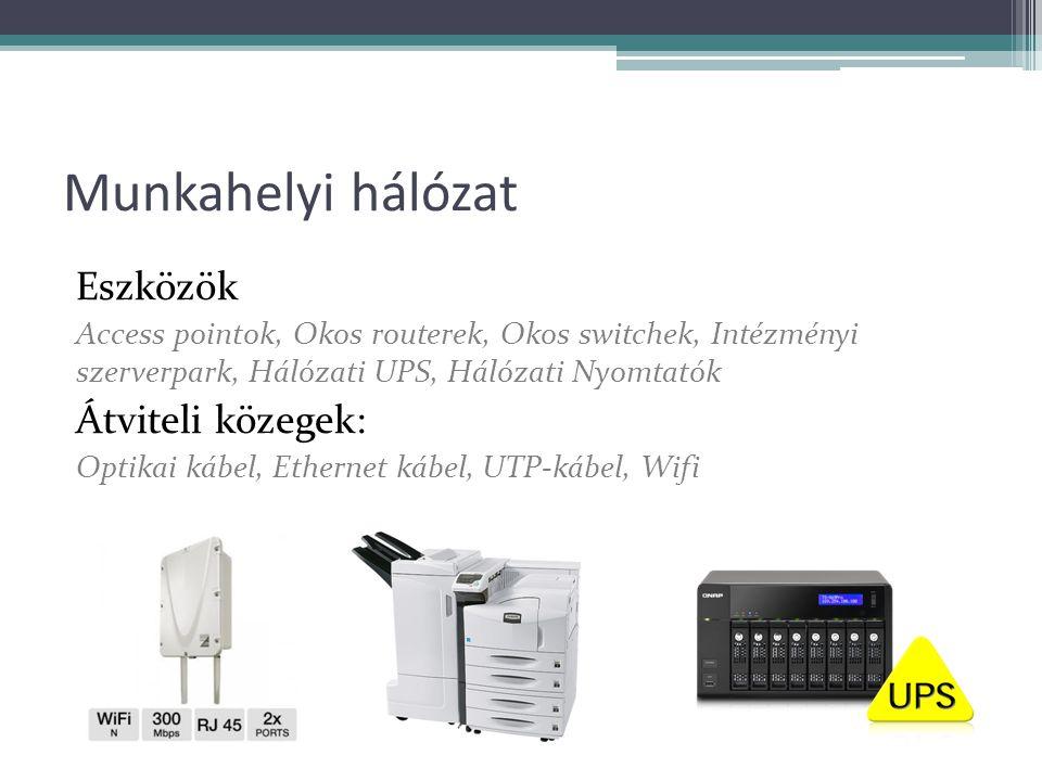 Munkahelyi hálózat Eszközök Access pointok, Okos routerek, Okos switchek, Intézményi szerverpark, Hálózati UPS, Hálózati Nyomtatók Átviteli közegek: Optikai kábel, Ethernet kábel, UTP-kábel, Wifi