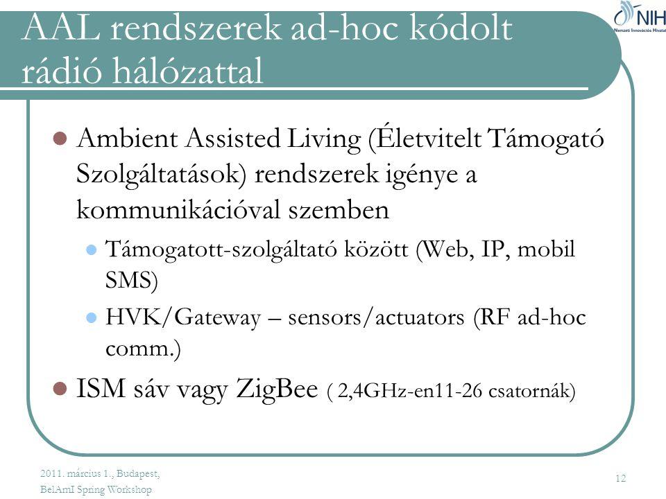 AAL rendszerek ad-hoc kódolt rádió hálózattal  Ambient Assisted Living (Életvitelt Támogató Szolgáltatások) rendszerek igénye a kommunikációval szemben  Támogatott-szolgáltató között (Web, IP, mobil SMS)  HVK/Gateway – sensors/actuators (RF ad-hoc comm.)  ISM sáv vagy ZigBee ( 2,4GHz-en11-26 csatornák) 12 2011.