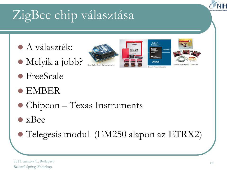 ZigBee chip választása  A választék:  Melyik a jobb.