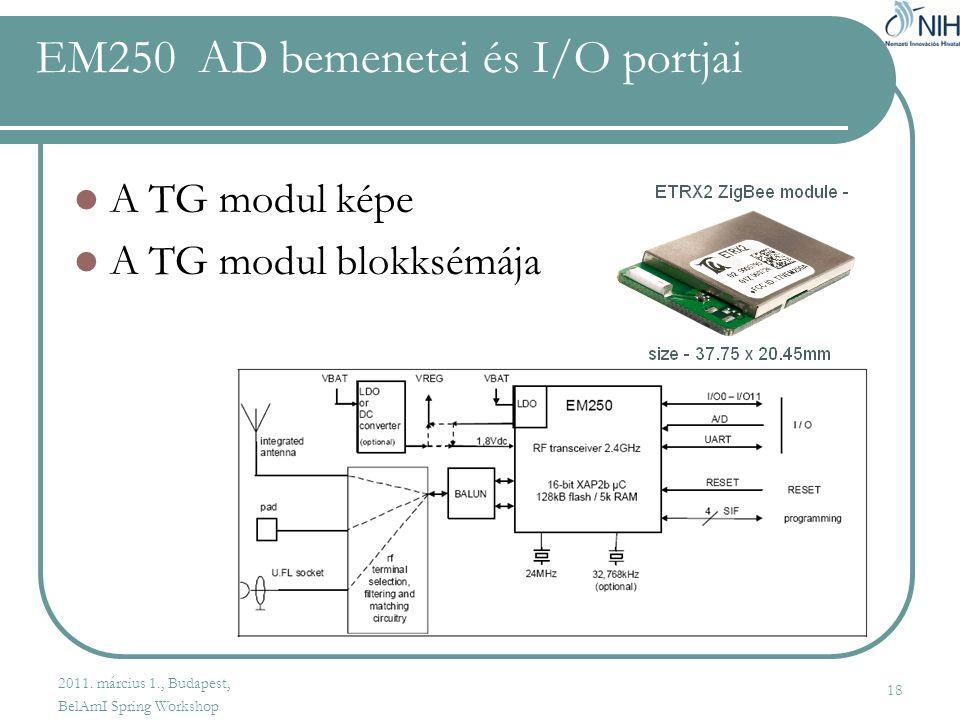 EM250 AD bemenetei és I/O portjai  A TG modul képe  A TG modul blokksémája 18 2011.