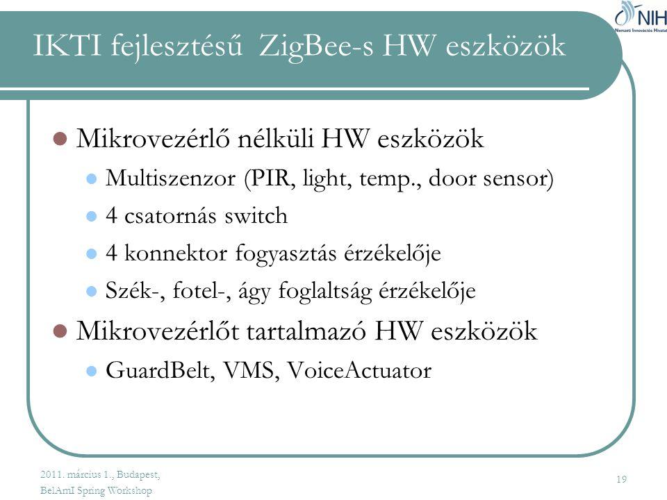 IKTI fejlesztésű ZigBee-s HW eszközök  Mikrovezérlő nélküli HW eszközök  Multiszenzor (PIR, light, temp., door sensor)  4 csatornás switch  4 konnektor fogyasztás érzékelője  Szék-, fotel-, ágy foglaltság érzékelője  Mikrovezérlőt tartalmazó HW eszközök  GuardBelt, VMS, VoiceActuator 19 2011.