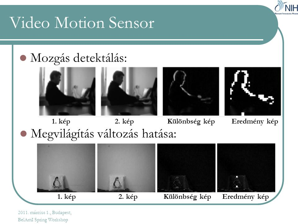 Video Motion Sensor  Mozgás detektálás:  Megvilágítás változás hatása: 1.