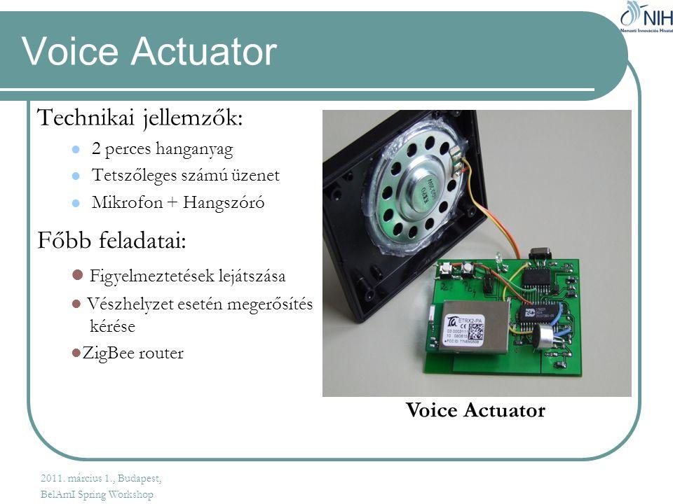 Voice Actuator Technikai jellemzők:  2 perces hanganyag  Tetszőleges számú üzenet  Mikrofon + Hangszóró Főbb feladatai:  Figyelmeztetések lejátszása  Vészhelyzet esetén megerősítés kérése  ZigBee router Voice Actuator 2011.