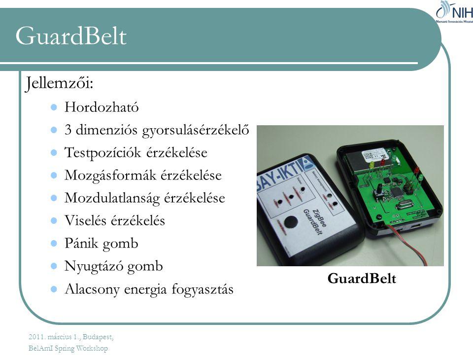 GuardBelt Jellemzői:  Hordozható  3 dimenziós gyorsulásérzékelő  Testpozíciók érzékelése  Mozgásformák érzékelése  Mozdulatlanság érzékelése  Viselés érzékelés  Pánik gomb  Nyugtázó gomb  Alacsony energia fogyasztás GuardBelt 2011.