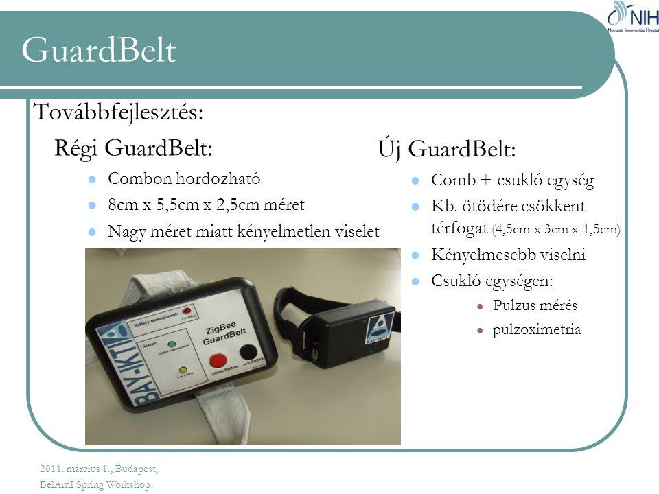 GuardBelt Továbbfejlesztés: Régi GuardBelt:  Combon hordozható  8cm x 5,5cm x 2,5cm méret  Nagy méret miatt kényelmetlen viselet Új GuardBelt:  Comb + csukló egység  Kb.