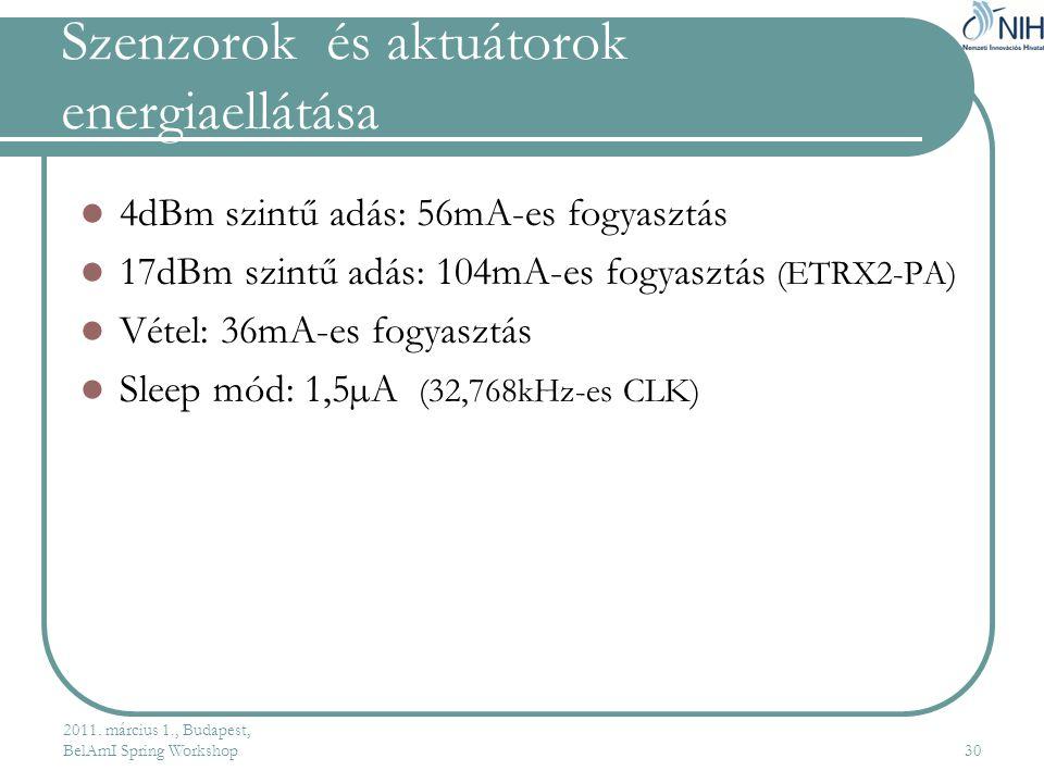 Szenzorok és aktuátorok energiaellátása  4dBm szintű adás: 56mA-es fogyasztás  17dBm szintű adás: 104mA-es fogyasztás (ETRX2-PA)  Vétel: 36mA-es fogyasztás  Sleep mód: 1,5µA (32,768kHz-es CLK) 2011.