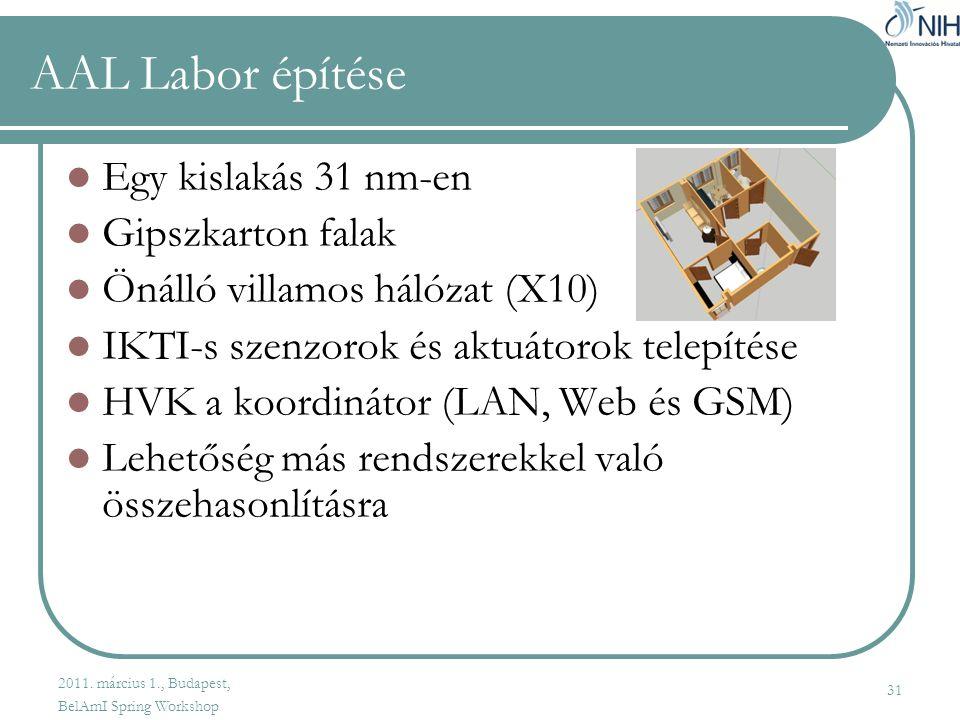 31 AAL Labor építése  Egy kislakás 31 nm-en  Gipszkarton falak  Önálló villamos hálózat (X10)  IKTI-s szenzorok és aktuátorok telepítése  HVK a koordinátor (LAN, Web és GSM)  Lehetőség más rendszerekkel való összehasonlításra 2011.