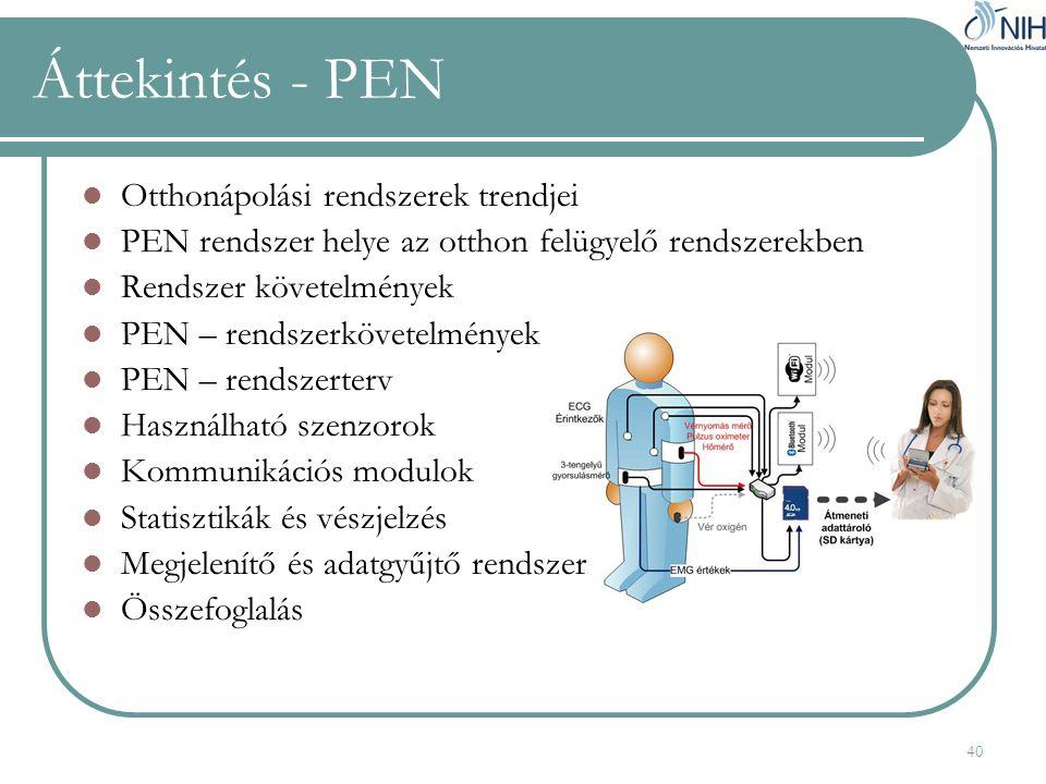 40 Áttekintés - PEN  Otthonápolási rendszerek trendjei  PEN rendszer helye az otthon felügyelő rendszerekben  Rendszer követelmények  PEN – rendszerkövetelmények  PEN – rendszerterv  Használható szenzorok  Kommunikációs modulok  Statisztikák és vészjelzés  Megjelenítő és adatgyűjtő rendszer  Összefoglalás