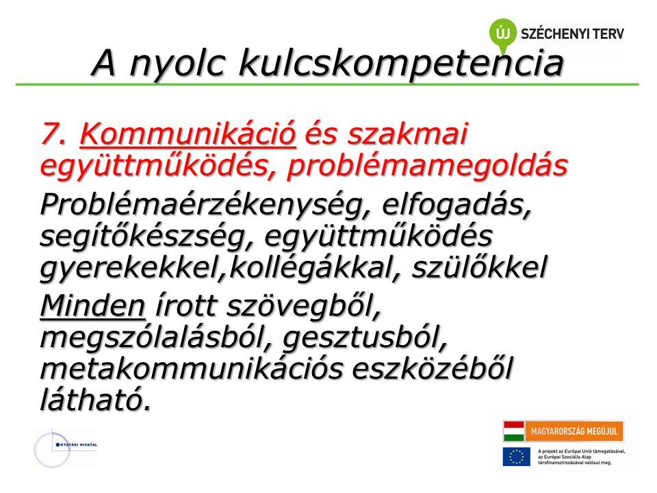 A nyolc kulcskompetencia 7. Kommunikáció és szakmai együttműködés, problémamegoldás Problémaérzékenység, elfogadás, segítőkészség, együttműködés gyere