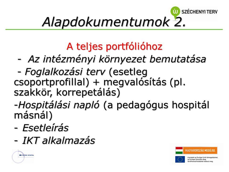Alapdokumentumok 2. A teljes portfólióhoz - Az intézményi környezet bemutatása - Az intézményi környezet bemutatása - Foglalkozási terv (esetleg csopo