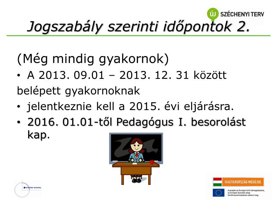 Jogszabály szerinti időpontok 2. (Még mindig gyakornok) • A 2013. 09.01 – 2013. 12. 31 között belépett gyakornoknak • jelentkeznie kell a 2015. évi el