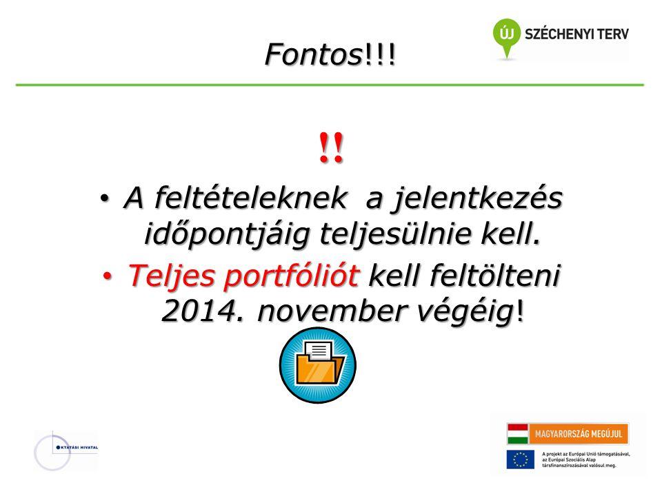 Fontos!!! !! • A feltételeknek a jelentkezés időpontjáig teljesülnie kell. • Teljes portfóliót kell feltölteni 2014. november végéig!